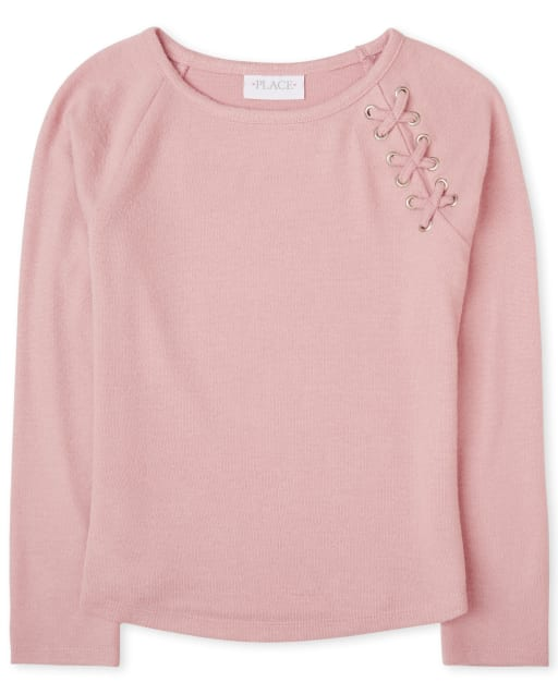 Girls Long Sleeve Lace Up Lightweight Sweater Knit Top