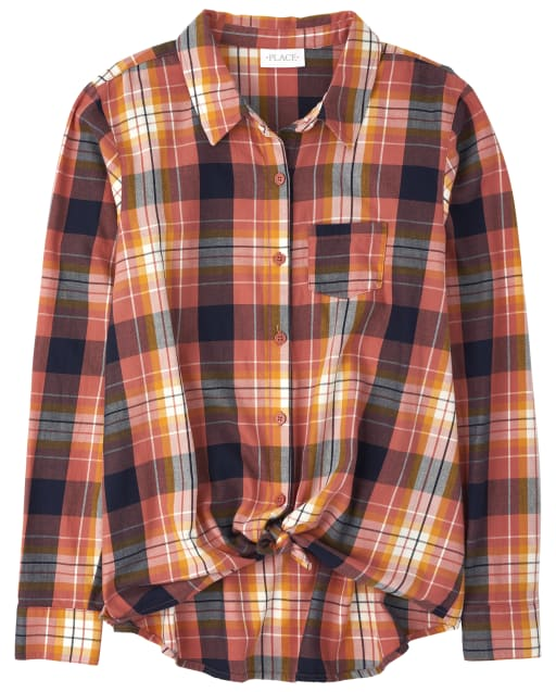 Womens Mommy And Me Long Sleeve Plaid Twill Matching Tie Front Button Down Shirt