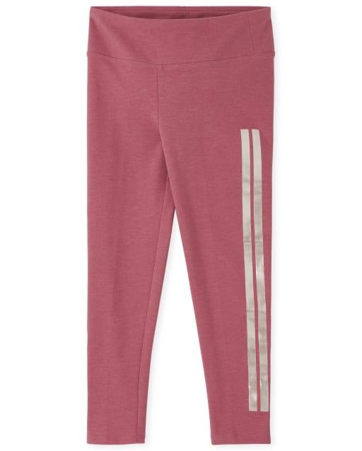 Girls Side Stripe Knit Active Leggings