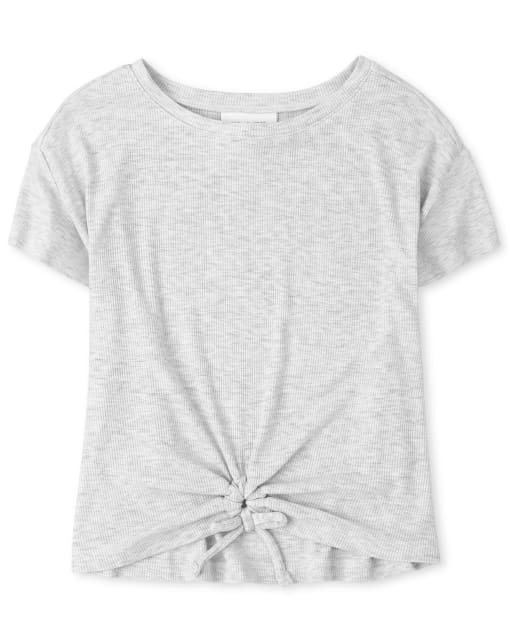 Girls Short Sleeve Cinched Tie Front Top