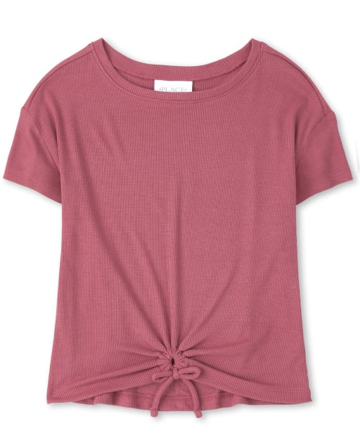 The Childrens Place Girls Square Neck Tie Front Top