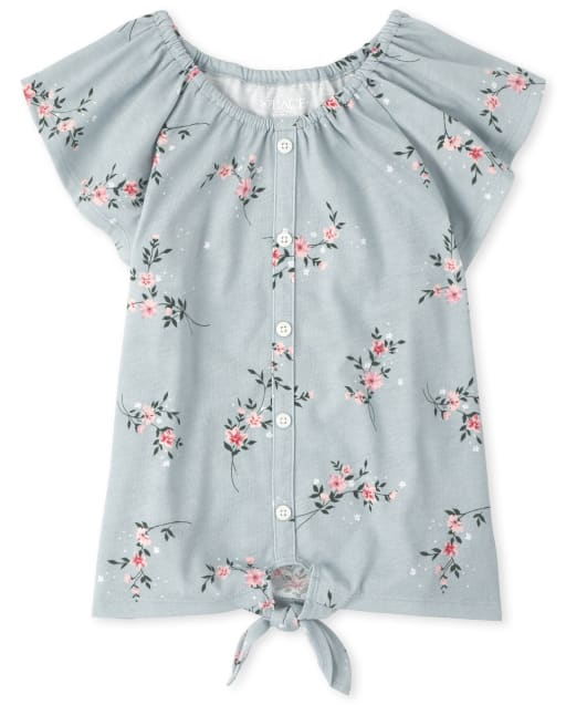 Girls Short Sleeve Floral Button Down Tie Front Top