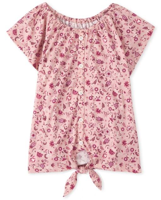 Top de manga corta con botones florales y lazo para niñas