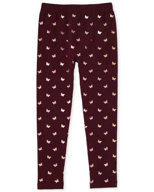 Girls Foil Butterfly Print Fleece Lined Knit Leggings