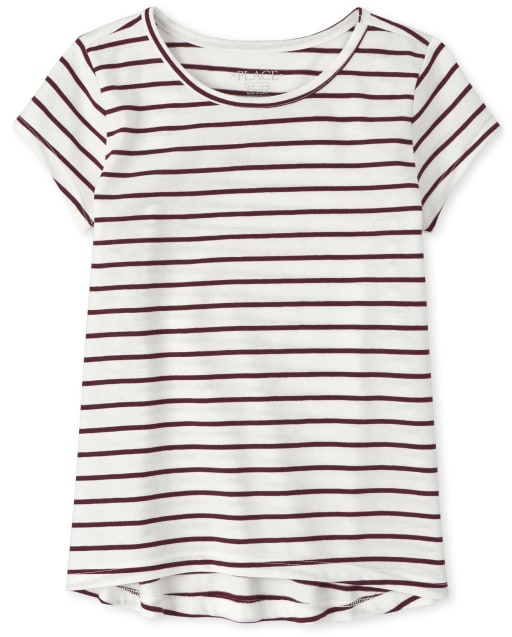 Girls Short Sleeve Striped High Low Basic Layering Tee
