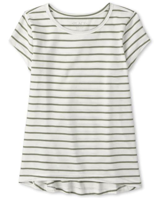 Camiseta de capas básicas de rayas altas y bajas para niñas