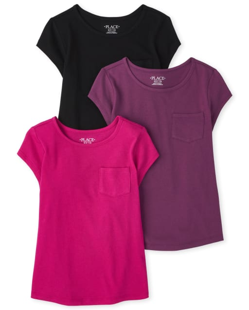 Girls Short Sleeve Basic Layering Tee 3-Pack