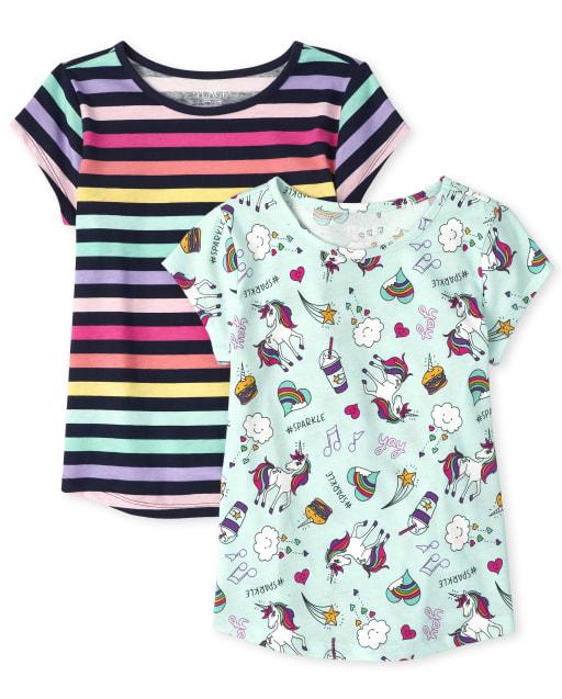 Girls Short Sleeve Print Basic Layering Tee 2-Pack
