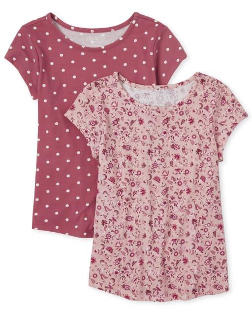 Camiseta básica con estampado para niñas, paquete de 2