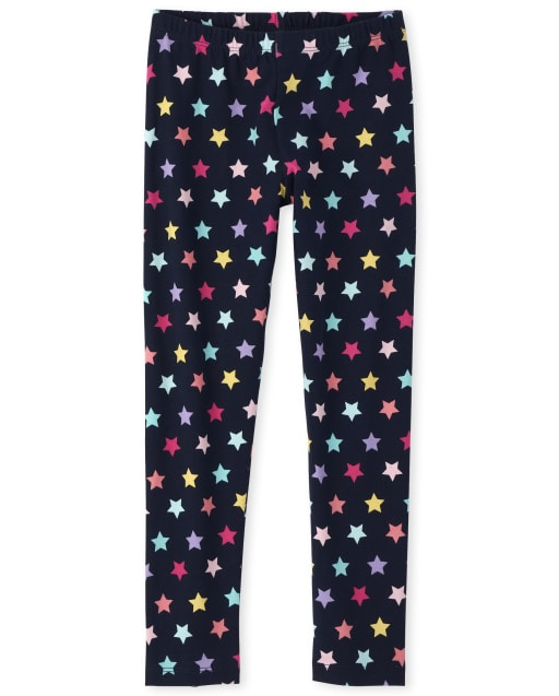 Girls Rainbow Star Print Knit Essential Leggings