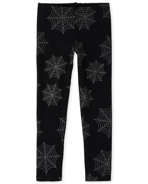 Girls Mommy And Me Halloween Glitter Spider Knit Matching Leggings