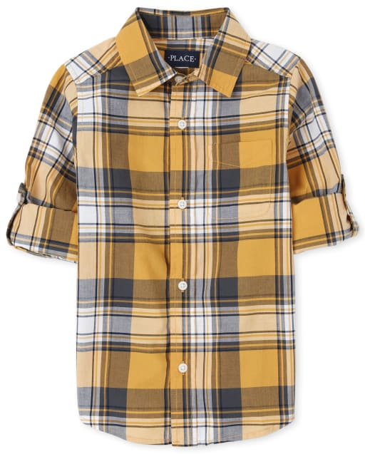 Camisa con botones de popelina a cuadros de manga larga enrollada para niños