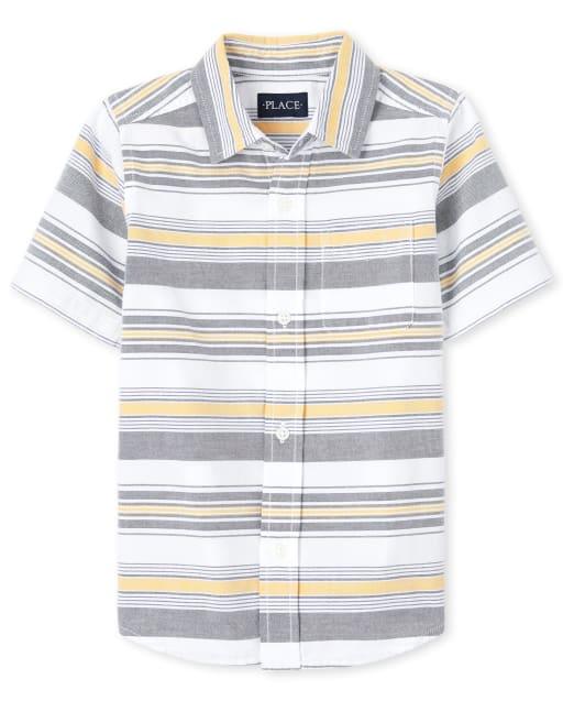 Camisa Oxford de Manga Corta a Rayas para Niño