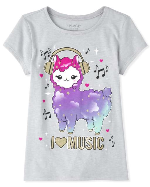 Girls Short Sleeve Glitter 'I Heart Music' Llama Graphic Tee