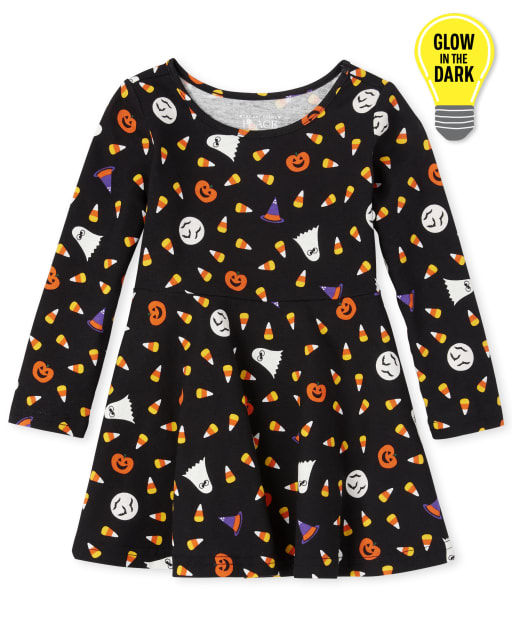 Baby And Toddler Girls Halloween Long Sleeve Glow In The Dark Print Knit Skater Dress