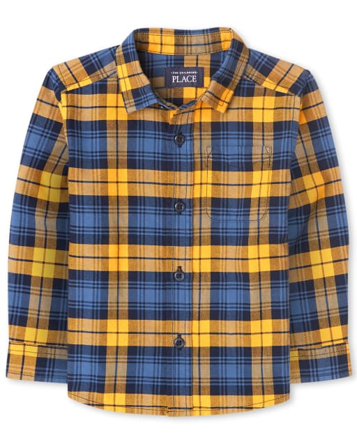 Baby And Toddler Boys Long Sleeve Plaid Oxford Button Down Shirt