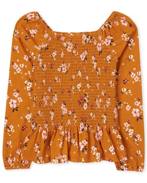 Girls Long Sleeve Floral Print Smocked Top