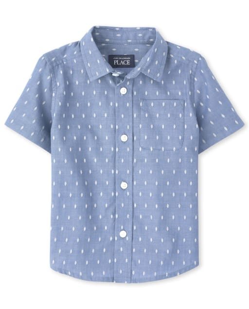 Baby And Toddler Boys Short Sleeve Dobby Button Down Shirt