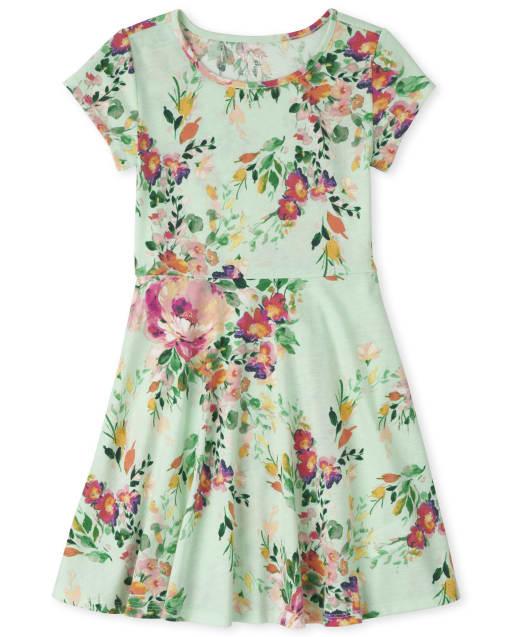 Girls Short Sleeve Floral Print Knit Skater Dress