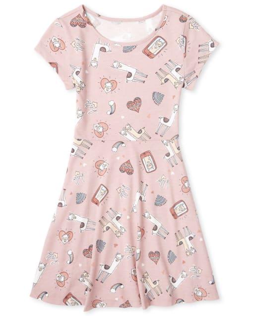 Girls Short Sleeve Print Knit Skater Dress