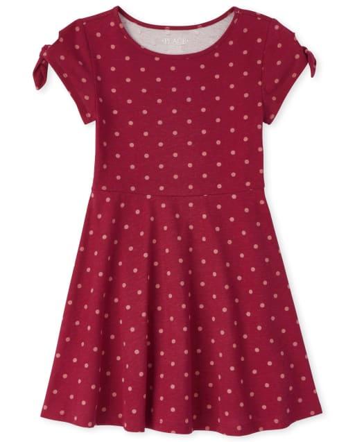 Girls Short Tie Sleeve Print Knit Skater Dress