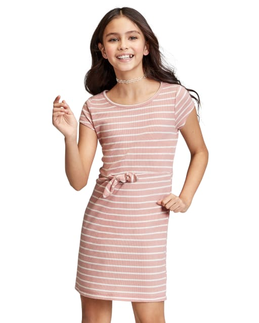 Vestido delantero con lazo a rayas para niñas