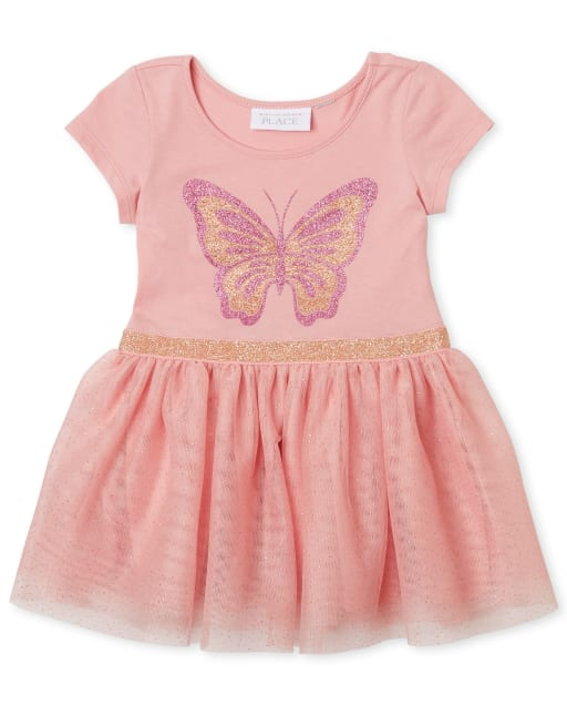 Baby And Toddler Girls Short Sleeve Glitter Butterfly Graphic Knit To Woven Tutu Dress