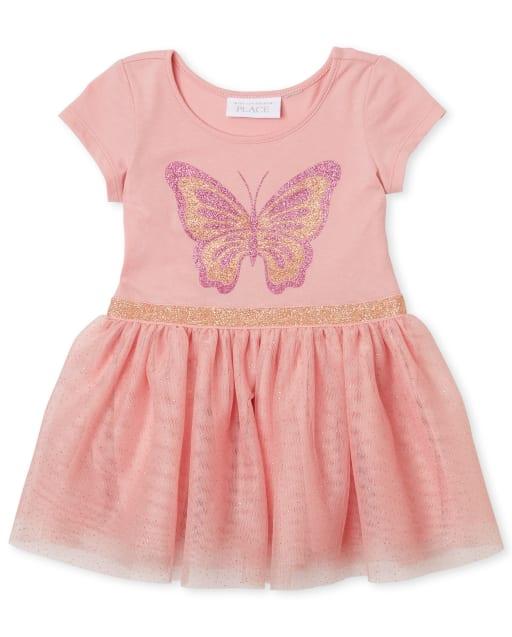 Vestido de tutú de punto con tejido de mariposa con purpurina para bebés y niñas pequeñas