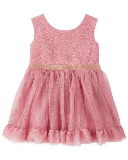 Baby And Toddler Girls Sleeveless Foil Knit To Woven Dress