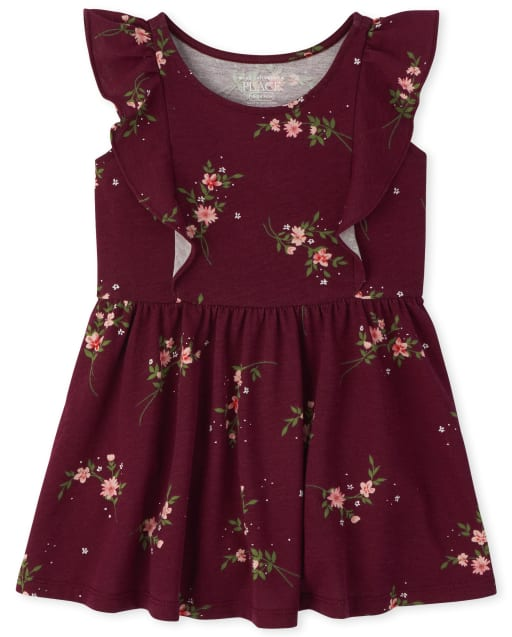Baby And Toddler Girls Short Sleeve Floral Print Knit Ruffle Dress