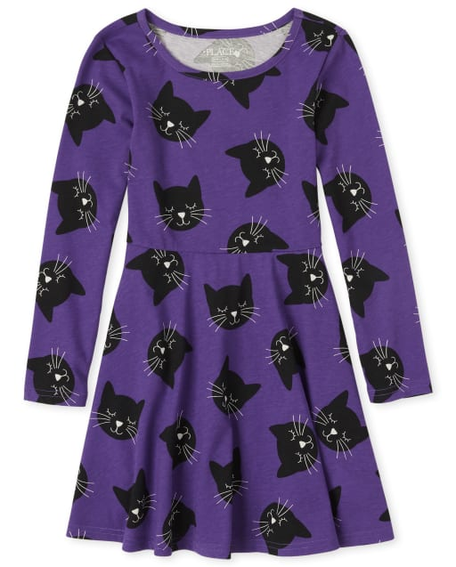 Girls Halloween Long Sleeve Cat Knit Skater Dress