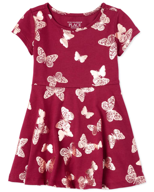 Baby And Toddler Girls Short Sleeve Foil Butterfly Print Knit Skater Dress