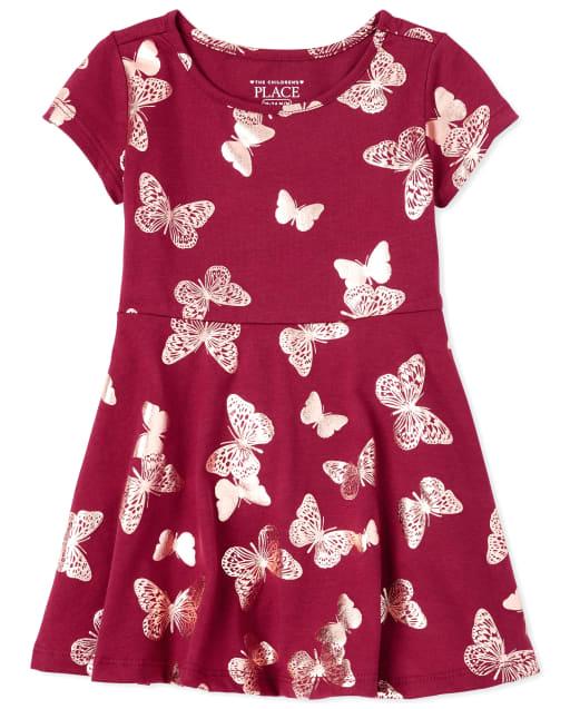 Vestido skater de mariposa con estampado de mariposa para bebés y niñas pequeñas