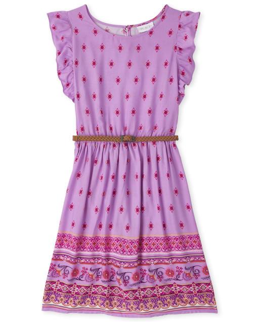 Vestido de niña de manga corta con estampado floral de borde y volante tejido con cinturón