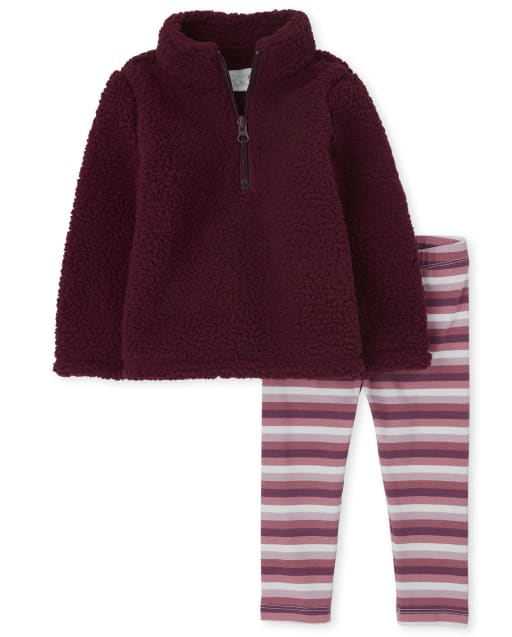 Toddler Girls Long Sleeve Sherpa Half Zip Pullover And Striped Leggings Outfit Set