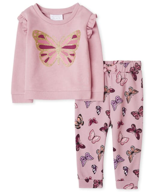 Toddler Girls Active Long Sleeve Butterfly French Terry Sweatshirt And Jogger Pants Outfit Set