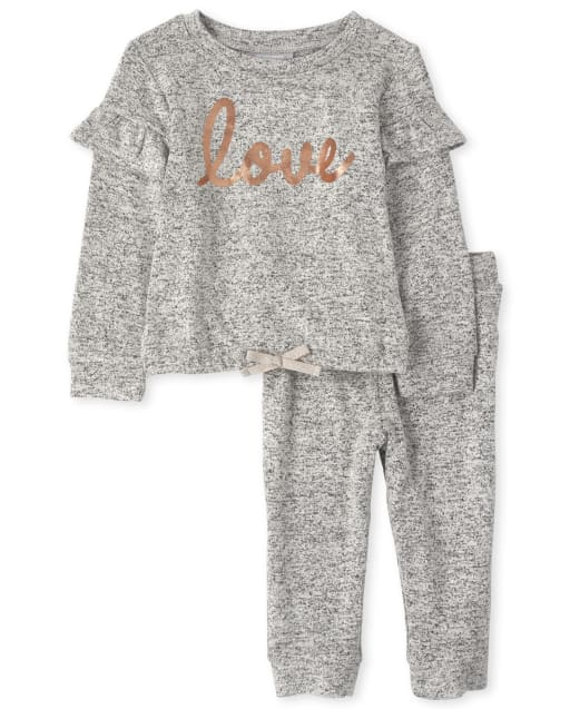 Toddler Girls Active Long Sleeve Foil 'Love' Lightweight Sweater Knit Top And Jogger Pants Outfit Set