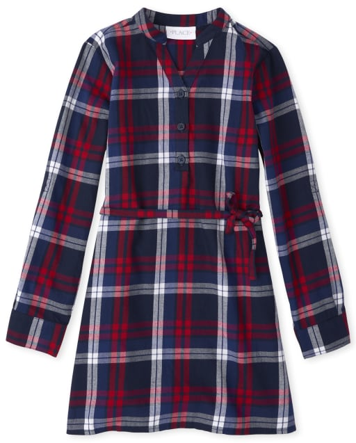Girls Matching Family Long Sleeve Plaid Twill Shirt Dress