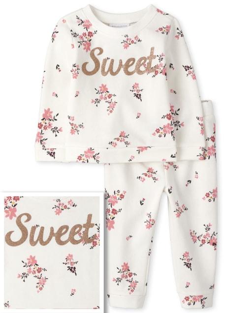 Conjunto de traje de felpa francesa con estampado floral de sudadera y pantalones joggers Sweet ' manga larga para niños pequeños ' Sweet '