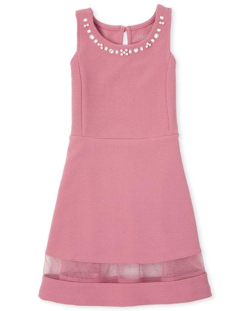 Vestido jacquard elástico con pedrería para niñas