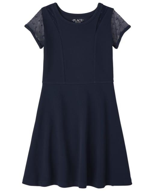 Girls Short Sleeve Stretch Jacquard Mesh Knit Skater Dress