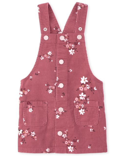 Baby And Toddler Girls Sleeveless Floral Print Cord Skirtall