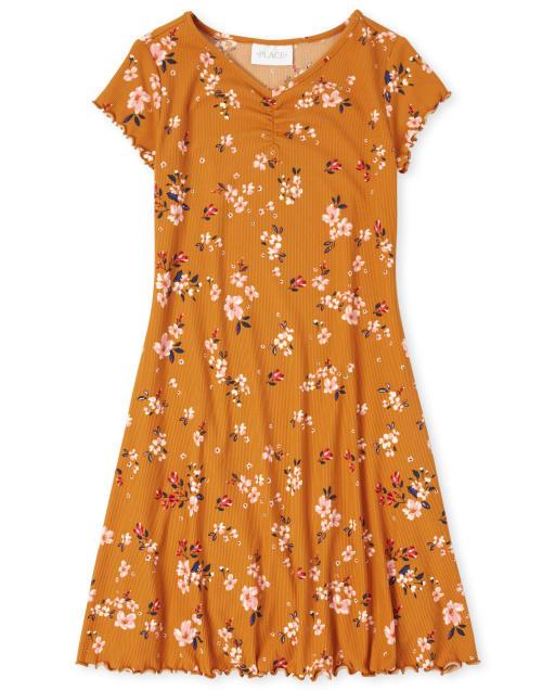 Girls Short Sleeve Floral Rib-Knit Skater Dress