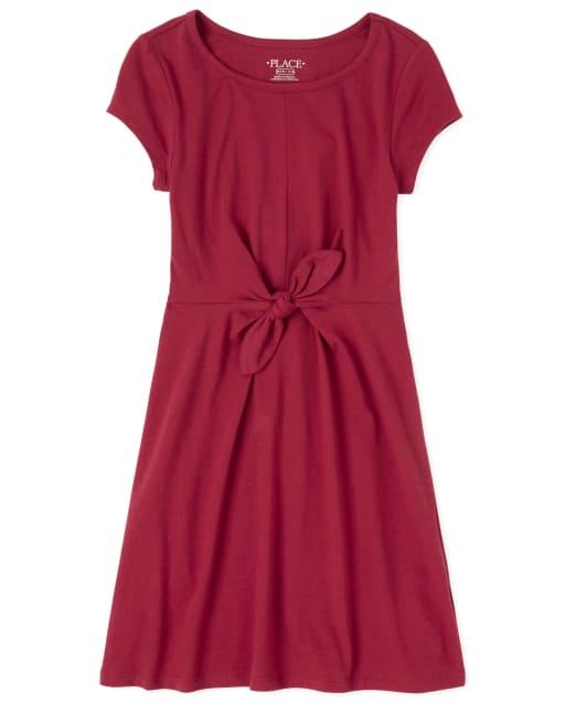 Girls Short Sleeve Knit Tie Front Dress