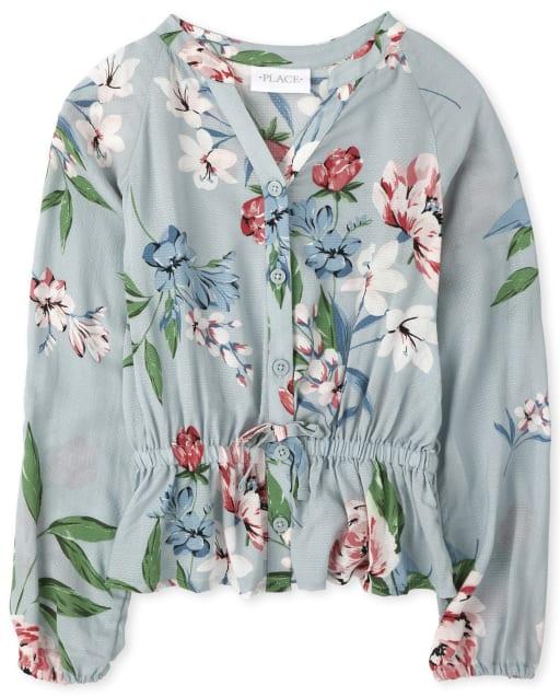 Girls Long Sleeve Floral Dobby Peplum Button Down Shirt