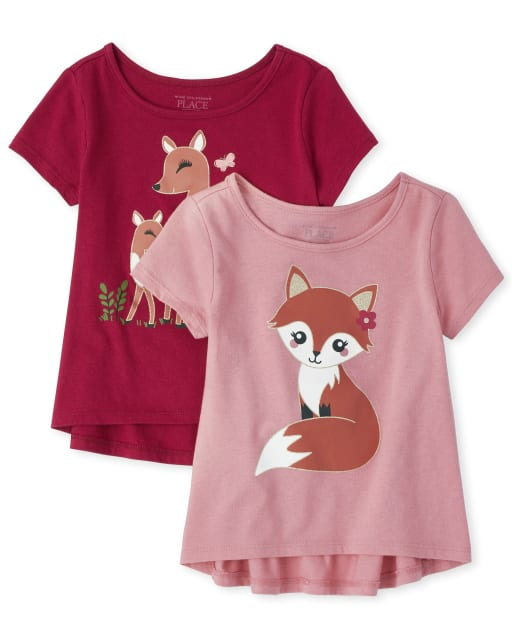 Toddler Girls Short Sleeve Glitter Graphic High Low Top 2-Pack