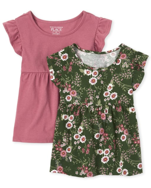 Toddler Girls Short Flutter Sleeve Tunic Top 2-Pack