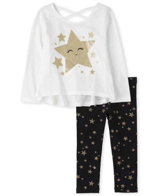 Toddler Girls Long Sleeve Glitter Star Cross Back Top And Star Print Leggings Outfit Set