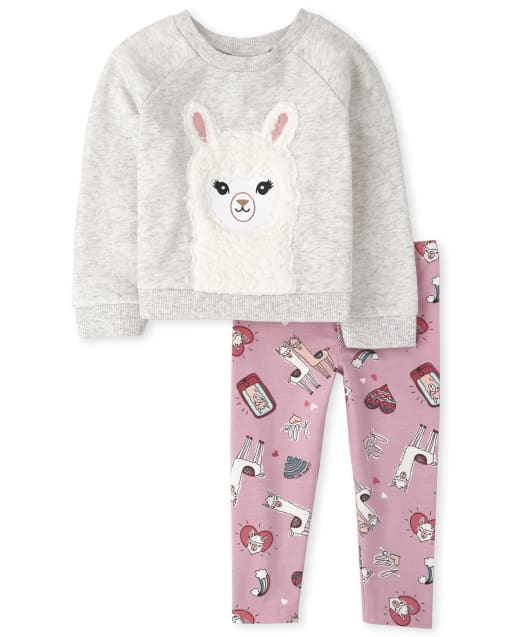 Toddler Girls Long Sleeve Llama French Terry Sweatshirt And Leggings Outfit Set