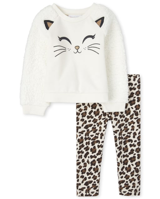Toddler Girls Long Sleeve Embroidered Cat And Sherpa Sweatshirt And Leopard Print Leggings Outfit Set